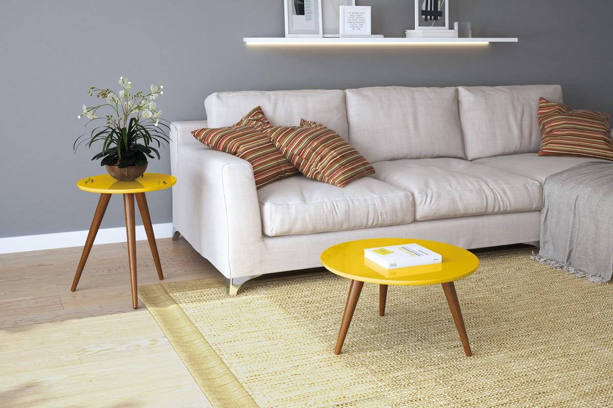 Mesa de Centro e Mesa Lateral Sorelle - Amarelo